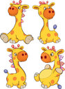 Set of toy giraffes cartoon ridiculous with colour small horns Royalty Free Stock Image