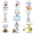 Set toy rabbits Stock Photos