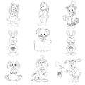 Set toy rabbits outline with holiday greeting objects black contour on white background vector illustration Stock Photos
