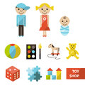 Set of toy shop icons vector flat with seven categories and illustration boy girl and baby Royalty Free Stock Photos