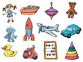Set of toys sketch illustrations the Stock Image