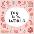 stock image of  Set of tradional festive desserts with a note joy to the world