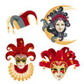 Set of traditional carnival mask on white background with sparkles Royalty Free Stock Photo