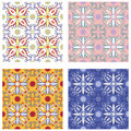Set of traditional mediterranean patterns vector original sicilian pattern eps format Royalty Free Stock Photography