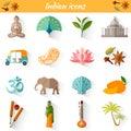 Set of traditional national symbols of India.