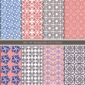 Set of traditional oriental, Indian seamless patterns. Set ethnic Seamless ornament in pink, blue, brown. Decorative ornament back