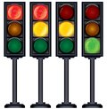 Set of traffic lights variation vector isolated on white illustration Stock Images