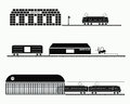 Set trains silhouette of vector illustration Royalty Free Stock Photo