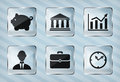 Set of transparency business icons on a striped background Royalty Free Stock Photo