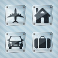 Set of transparency travel pointer icons on a striped background Royalty Free Stock Image