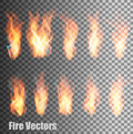 Set of transparent flame vectors. Royalty Free Stock Photo