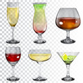 Set of transparent glass goblets with different drinks wine cocktail champagne and cognac Royalty Free Stock Image