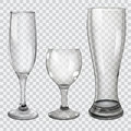 Set of transparent glass goblets three for wine champagne and beer on checkered background Royalty Free Stock Photo