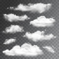 Set of transparent realistic clouds. Vector illustration Royalty Free Stock Photo
