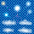 Set of transparent suns and clouds with lens flare Stock Photo