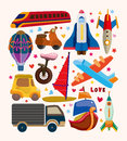 Set of transport icons cartoon vector illustration Royalty Free Stock Images