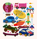 Set of transport icons cartoon vector illustration Stock Photography