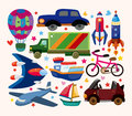 Set of transport icons cartoon vector illustration Royalty Free Stock Photos