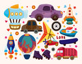 Set of transport icons cartoon vector illustration Royalty Free Stock Photography
