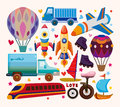 Set of transport icons cartoon vector illustration Royalty Free Stock Image