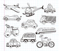 Set of transport icons cartoon vector illustration Stock Image