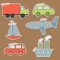 Set of transport stickers for babies Stock Photography