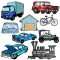 Set of transportation sketch illustrations the Stock Photography