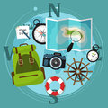 Set of travel accessories with backpack, compass, map and other items. Vector