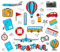 Set of travel cartoon stickers in retro style Royalty Free Stock Photo