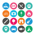 Set of Travel, Hiking and Camping icons. Royalty Free Stock Photo