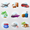 Set of travel icons сollection colored for tourism and vacation qualitative vector eps symbols about tourism vacation trip Stock Photography