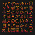 Set of 46 travel icons Royalty Free Stock Photo