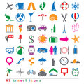 Set of travel icons colorful Stock Image