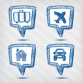 Set of travel pointer icons Royalty Free Stock Images