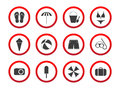 Set of travel prohibition icons, beach restriction signs, icon s