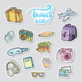 Set travel sticker. Traveling icons