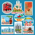 Set of travel stickers. Countries of Asia, Europe and Africa