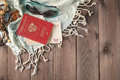 Set of travel things on wooden background Royalty Free Stock Photo