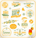 Set of travel and vacation emblems symbols Stock Photos