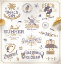 Set of travel and vacation emblems symbols Royalty Free Stock Photography