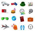 Set of travel and vacation icons isolated on white Royalty Free Stock Photo