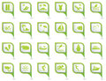 Set of travel and vacation icons on map pointers green Royalty Free Stock Photos
