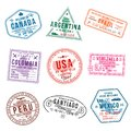Set of travel visa stamps for passports. International and immigration office stamps. Arrival and departure visa stamps Royalty Free Stock Photo