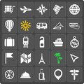 Set of travel web and mobile icons vector in flat design Stock Images