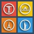 Set of travel web and mobile icons vector in flat design brazil india new york paris jesus statue liberty statue taj mahal eiffel Royalty Free Stock Photo