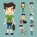 Set of traveler people