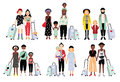 Set of traveling families and couples. Different fashionable people with luggage, children. Colorful vector collection