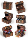 Set of treasure chests Stock Images