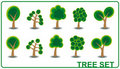 Set tree cartoon Stock Photography