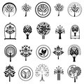 Set of tree icons vector symbols nature plants Royalty Free Stock Photography